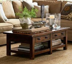 Benchwright Coffee Table Rustic Mahogany Stain Pottery Barn AU Regarding Tables Design 1 - Coffe Table & Countertop Idea Coffee Table Pottery Barn, Coffee Table With Drawers, Rustic Coffee Tables, Diy Coffee Table, Decorating Coffee Tables, Coffee Table Design, Coffee Coffee, Coffee Shop, Mahogany Coffee Table
