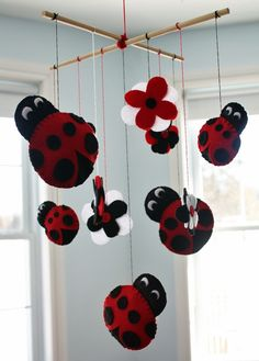 Mod Little Lady Bug Felt MOBILE Girls Bedroom Baby by ToadAndLily, $60.00