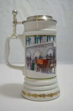 Miller Holiday Collection Lidded Beer Stein - The Miller Inn by DJsVintageCache on Etsy Beer Stein, Hot Rod Trucks, Oldies But Goodies, 3 Things, Aqua Blue, Vintage Items, Mugs, Beer 101, Holiday