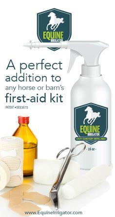 Learn more www.EquineIrrigator.com  Equine Irrigator was created to help make the important task of wound cleaning easier, by giving you a sanitary, continuous-use, one-handed solution for keeping your horse's wound clean throughout recovery.  That's what makes this product great, and why we believe no barn's first-aid kit is complete without it.