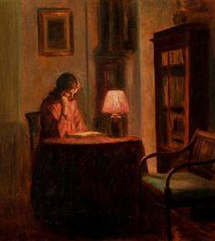 Poul Friis Nybo (1869-1929). Interior con mujer leyendo, óleo sobre lienzo.