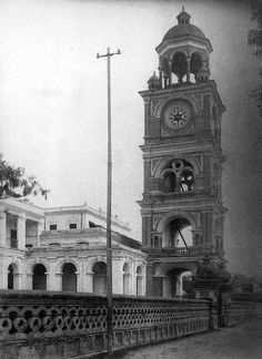 The clock tower( Ghantaghar) in the mid 1920s. It was designed by Kishor and Kumar Narsingh Rana, Nepal's first engineers to receive training in Japan at the turn of the Century- Nepal