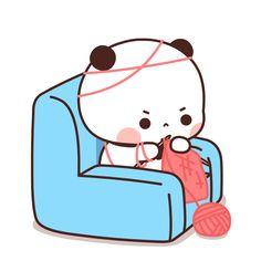Chibi Panda, Chibi Cat, Cute Chibi, Panda Bear, Kawaii Drawings, Cute Drawings, Cartoon Pics, Cute Cartoon, Cute Love Gif