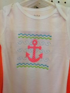 A personal favorite from my Etsy shop https://www.etsy.com/listing/187860071/faux-smocked-anchor-shirt-for-baby-or