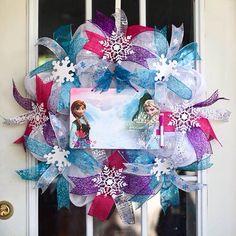 Christmas Deco Mesh Wreath- Frozen inspired