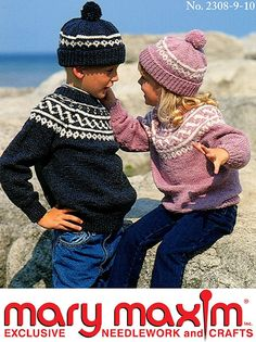 Use Mary Maxim Worsted Weight yarn to knit a matching hat and pullover.