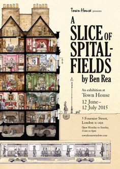 Spitalfields Huguenot Silk District of London Ben Rea is trained as an architect and is a really talented artist with a great sense of humour. Come and have a look at his work opening here Friday.