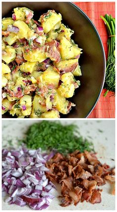 German Potato Salad. A lightened up version of delicious potato salad that is tangy and made with fresh dill, bacon, and red onion. A perfect picnic or BBQ dish!