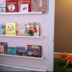 ikea ribba picture rail as bookshelves