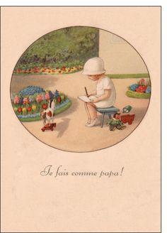Carte Carte ancienne je fais comme papa pour envoyer par La Poste, sur Merci-Facteur !
