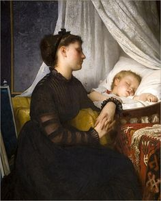 """""""Widowed and Fatherless"""", Leon Jean Bazile Perrault, 1874 check out the sleeve treatment Victorian Paintings, Victorian Art, Victorian Women, Praying For Your Children, Religious Paintings, Wise Women, Art Uk, Mothers Love, Mother And Child"""