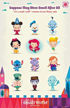 It's a Small World 50th by Jerrod Maruyama via Flickr. Jerrod created these 'small world' versions of Disney characters for the 50th anniversary celebration of the ride.