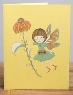 Yellow Fairy | Red Cap Cards | Illustrated greeting card by Carrie Gifford #flower
