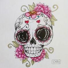 Releitura de uma imagem que vi por aí...  #skull #caveiramexicana #mexicanskull