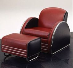 Art Deco club chair and ottoman Car Furniture, Trendy Furniture, Furniture Design, Retro Furniture, Accent Furniture, Art Deco Car, Art Deco Home, Art Nouveau Furniture, Streamline Moderne
