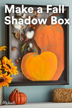 Create this beautiful shadow box with painted pumpkins on the glass and Fall foliage inside. If you have a Cricut® machine, you can add Fall pumpkins (or design) with vinyl instead of paint! Fall Halloween, Halloween Crafts, Holiday Crafts, Halloween Decorations, Diy Thanksgiving Decorations, Outdoor Halloween, Thanksgiving Decorations Outdoor, Diy Thanksgiving Crafts, Autumn Decorations