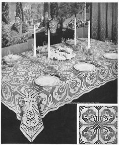 Totally Free Crochet Pattern Blog - Patterns: Size 10 Thread Giant Mesh Filet Crochet Tablecloth