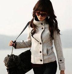 Color: black, gray Fabric : wool Sizes : S, M, L Size (cm): Length  , Shoulder , Bust , Sleeve  S: 57,38,88,55, M: 58,39,92,56, L: 59,40,96,57,