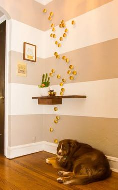 Entryway stripes: gold cubes House Tour: A Bold Chicago Apartment Bursting With DIY | Apartment Therapy