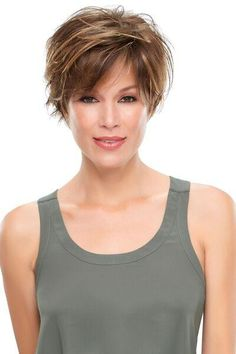 Wig features: Hand-tied, Lace Front At last a wig with the perfect mashup of pixie shortness and long front layers! The smartlace front, monotop, and Short Hairstyles For Thick Hair, Short Hair Cuts For Women, Wavy Hair, Curly Hair Styles, Cool Hairstyles, Party Hairstyles, Jon Renau, Great Hair, Fine Hair