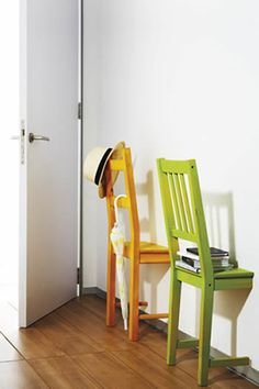 Chairs aren't just useful as seats - if you have one too many, turn it into a shelf. Saw a wooden chair in two across its width and push it up against a wall, holding it up with mounting hooks or picture hooks (heavy-duty 3M tape works well, too). Pile your books on the seat, and hang items such as umbrellas off the bars of the backrest.   NEEDED !!
