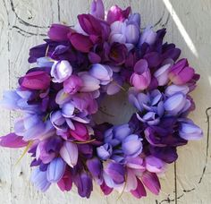 Spring purple tulip wreath $35.00 from Grey Horse Goods.