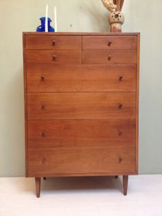 Vintage 1960s Highboy Dresser By Glenn Of CA: Mid Century Modern Walnut  Danish