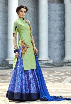 Blue designer art silk printed lehenga with long green choli