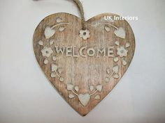 Wooden Rustic WELCOME Hanging Heart - Wood Carved Decoration 15cm
