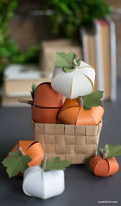 DIY White and Orange Paper Pumpkins for Fall