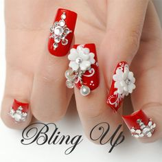 Red Nail with White 3D Nail Art Flowers and Austrian Crystals