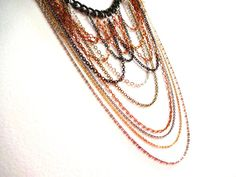 Handmade Layered Mixed Metal Statement Drop Necklace by KalosandCo, $52.00