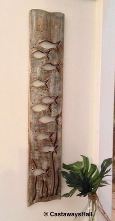 Wood School of Fish Art Panel Sign Wall Decor Vertical Driftwood Colouring, Natural or Sea Gl., Wood School of Fish Art Panel Sign Wall Decor Vertical Driftwood Colouring, Natural or Sea Glass Colours Beach Lake House by CastawaysHall, .