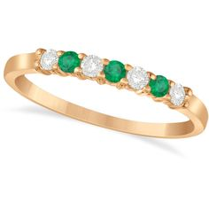 Allurez Diamond & Emerald 7 Stone Wedding Band 14k Rose Gold (0.26ct) ($555) ❤ liked on Polyvore featuring jewelry, rings, wedding rings, diamond band ring, 14k diamond ring, engagement rings and rose gold stackable rings