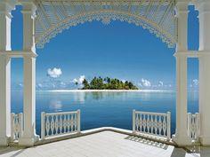 Beautiful view beach blue green sea window   ImgStocks.com