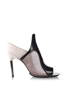 Sculptural sandals with contrasting mesh and leather panels and a metal stiletto heel.