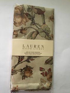 "Ralph Lauren NEW Grace Floral Gold Napkins Set of 4 100% Cotton 20"" x 20""  #RalphLauren"