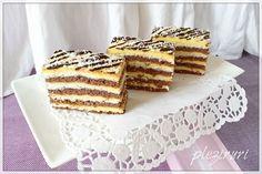 Prajitura Tosca (mac, cocos, crema de vanilie)   Pleziruri Cake Recipes, Dessert Recipes, Food Cakes, Waffles, Diy And Crafts, Deserts, Food And Drink, Sweets, Bread
