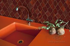 Aladdin, a jewel glass waterjet mosaic backsplash shown in Garnet, is part of the Silk Road Collection by Sara Baldwin for New Ravenna Mosaics. Penny Backsplash, Copper Backsplash, Herringbone Backsplash, Stove Backsplash, Hexagon Backsplash, Beadboard Backsplash, Backsplash Ideas, Tile Ideas, Ravenna Mosaics