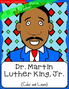 FREEBIE:  Martin Luther King, Jr. color and learn book pages.  MLK free printables.  TeacherKarma.com #MLK #King