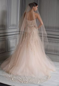 monique lhuillier - wedding dress - bridal - collection - spring 2012 - candy - blush embroidered illusion tulle strapless corset bodice embroidered tulle gown with modified a-line skirt