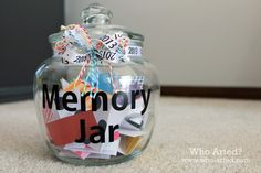 """Memory Jar - Have guests write a memory about guest-of-honor on 3""""x5"""" colored index cards and drop in Memory Jar - or they can just write an appropriate greeting (birthday, anniversary, etc.) on the card - just be sure to sign their name (legibly)!"""