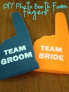 DIY Foam Fingers (for a wedding photo booth) becky might like this if she has a photo booth...do black snd gold and orange and blue