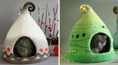 Eine Frau macht aus Filz märchenhafte Katzenhäuser, sieh dir diese 12 fantastischen Beispiele an!