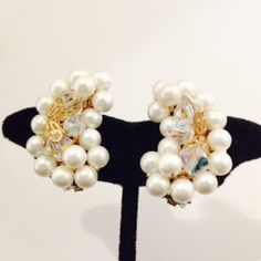 Faux White Pearl and Crystal Prism Beading Earrings 8173