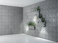 Aranżacja ściany z Puzzli wykonanych z betonu architektonicznego. Firma Bettoni proponuje różne rozwiązania z wykorzystaniem betonu architektonicznego. Wyjątkowość płyt 3D Puzzle świadczy o pomysłowości jej autorów. Cement, Concrete, 3d Puzzles, 5 W, Bathroom, Plants, Portal, Salons, Houses
