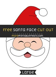 Santa Claus Face Cut Out | Bows | Santa, Christmas, Santa face