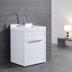 daisy white vanitystyle utility sink with faucet by new waves - Laundry Tubs