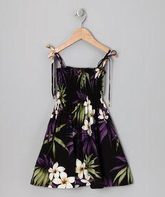 Purple Plumeria Smocked Dress - Toddler & Girls