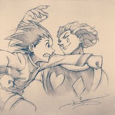 Hunter x Hunter ~ Hisoka and Gon fighting. This is an amazing drawing! XD --- Artist: Itsbirdy